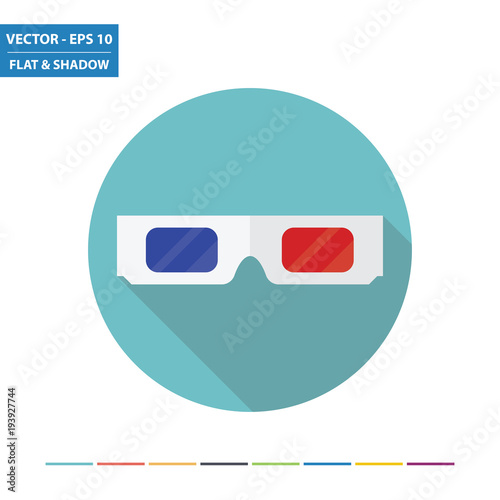 3D movie glasses flat icon with long shadow. Vector Illustration.