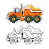 Orange Truck with Sand Side View Coloring Book. Colored Version and Line Art