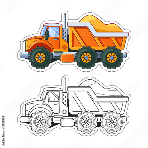 Fotobehang Auto Orange Truck with Sand Side View Coloring Book. Colored Version and Line Art