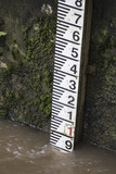 River depth gauge showing height of high water