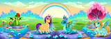 Landscape of dreams with rainbow and fantasy animals - 193934345