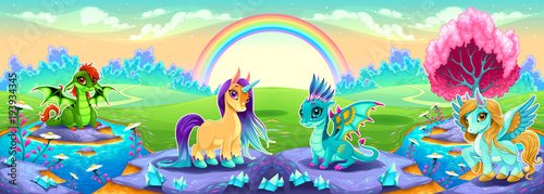 Landscape of dreams with rainbow and fantasy animals