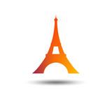 Eiffel tower icon. Paris symbol. Blurred gradient design element. Vivid graphic flat icon. Vector