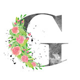 Watercolor letter G with floral decoration