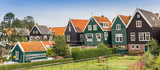Panorama of colorful houses in historic village Marken - 193938157