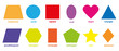Basic geometric colorful 2D shapes collection