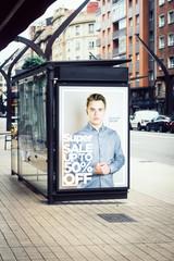 billboard super sale fashion  advertising on bus stop