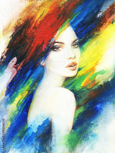 Fotobehang Anna I. beautiful woman. fashion illustration. acrylic painting