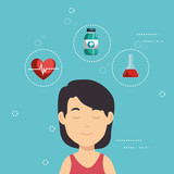 Woman  Medical Icons  Illustration Design Wall Sticker