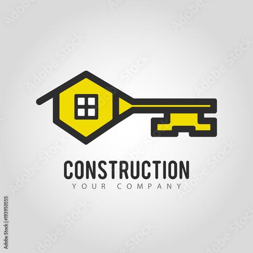 Vector logo design House Key. Creative idea for logotype for construction and building company.