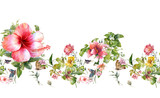 Watercolor painting of leaf and flowers, seamless pattern on white background - 193955983