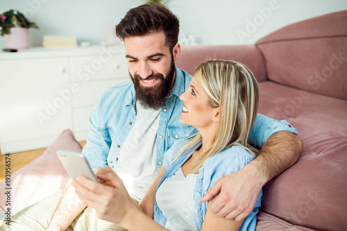 Couple enjoying at home