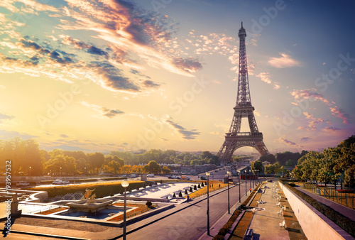 Fotobehang Eiffeltoren Trocadero and Eiffel Tower