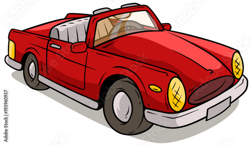 Plexiglas Auto Cartoon red retro car