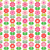 Seamless vector pattern with scandinavian style flowers in bright colors.