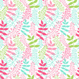 Spring meadow. Seamless vector pattern with leaves.