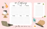 Hand drawn vector abstract modern cartoon cooking studio class illustrations weekly cooking planner and recipe card templete with handwritten calligraphy quotes isolated on white background - 193962572