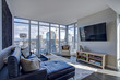Leinwandbild Motiv Light filled family room with panoramic view of Seattle