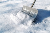 snow shovel from metal for removing snow in winter - 193966731