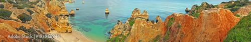 Natural rocks at Praia De Camillo in Lagos Portugal - 193966944