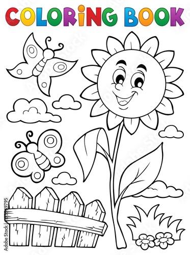 Foto op Canvas Voor kinderen Coloring book flower topic 7