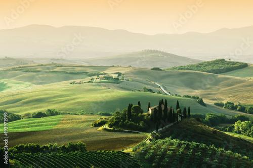 Fotobehang Toscane Tuscany landscape at sunrise. Tuscan farm house, vineyard, hills.