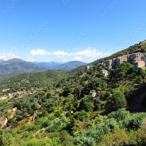 Sartene village in the mountains in Corsica France