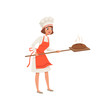 Smiling female baker character in uniform taking out with shovel freshly baked bread vector Illustration on a white background