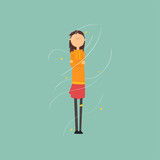 Girl Freezing And Shivering On A Very Windy Day Outdoors  Illustration Wall Sticker