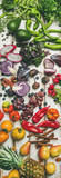 Helathy raw vegan food cooking background. Flat-lay of fresh fruit, vegetables, greens, superfoods over white rustic wooden table, top view. Clean eating, alkaline diet, vegetarian concept