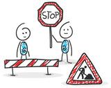 Sticky  Strichmännchen  Baustelle Umbau Auftrag Stop Wall Sticker