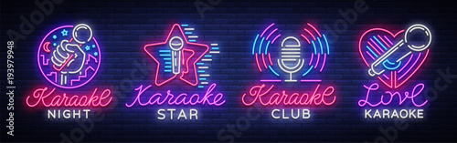 Karaoke set of neon signs. Collection is a light logo, a symbol, a light banner. Advertising bright night karaoke bar, party, disco bar, night club. Live music. Design template. Vector illustration