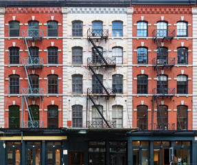 Wall of windows on buildings in Tribeca New York City