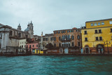 Foggy cold morning in Venice, turquoise sea, canals, swimming by waves, traveling