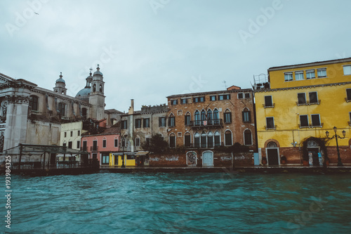 Foto op Aluminium Venetie Foggy cold morning in Venice, turquoise sea, canals, swimming by waves, traveling