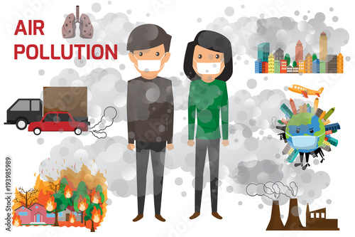 Environmental pollution infographics set with information about environmental impact. Air Pollution and cartoon character vector illustration. - 193985989