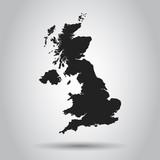 United Kingdom vector map. Black icon on white background. - 193991763
