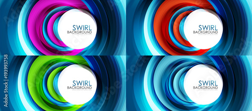 Set of spiral swirl line backgrounds - 193993758