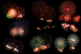 Collection of fireworks on black background. - 193993957
