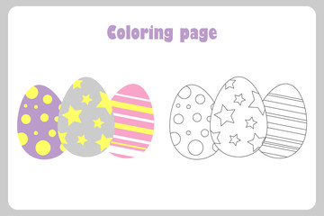 Eggs in cartoon style, coloring page, easter education paper game for the development of children,  kids preschool activity, printable worksheet, vector illustration