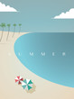Beautiful summer beach vector poster template with sun umbrellas and palm trees.