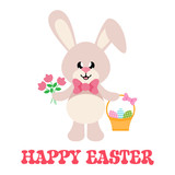 cartoon easter bunny with tie and basket easter egg and flowers with text