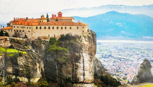 Plexiglas Freesurf Landmarks of Greece - unique Meteora with hanging monasteries over rocks