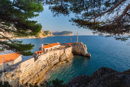 Fotobehang Grijze traf. Beautiful view of Kastel Lastva in Petrovac na Moru in Montenegro.