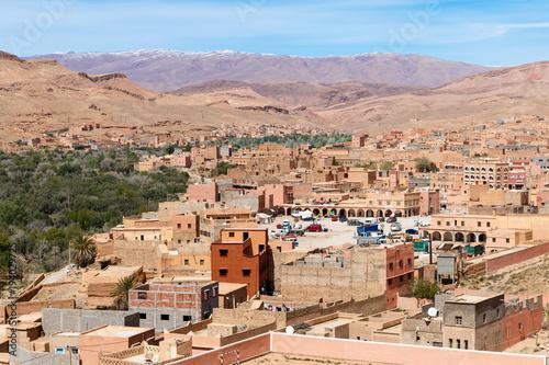 Fotobehang Marokko Kasbah, Traditional berber clay settlement in Sahara desert, Morocco