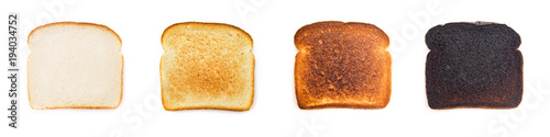 Fototapeta A Collage of Different Levels of Darkness when it comes to Toast - What's your preference?