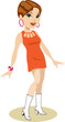 Pretty girl with pixie hairstyle, wearing 1960s outfit of bright orange cut-out mini-dress, pink jewelry, and white mid-calf go-go boots