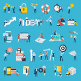Set of flat design style people icons. Vector illustration concepts for business, big idea, teamwork, technical support, e-banking, investment, management, planning, social media, securuty, success.