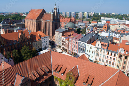 Fototapeta Rooftops around the Old City Market Square in the Torun, Poland