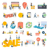 Flat design people concept icons isolated on white. Set of vector illustrations for shopping, e-commerce, online payment. - 194041786